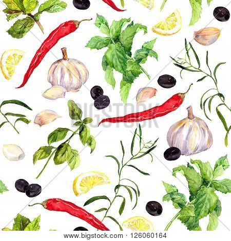Spices and herbs - red pepper, lemon, olives, marjoram and basil. Seamless cooking pattern. Watercolor