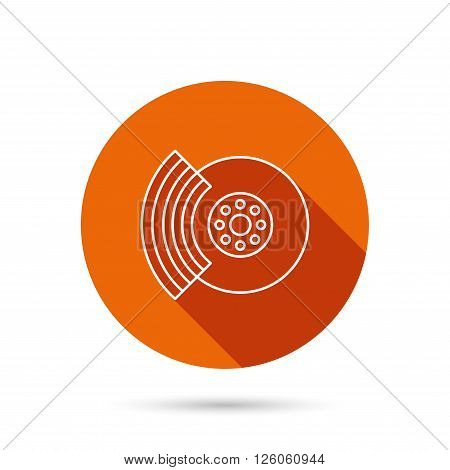 Brakes icon. Auto disk repair sign. Round orange web button with shadow.