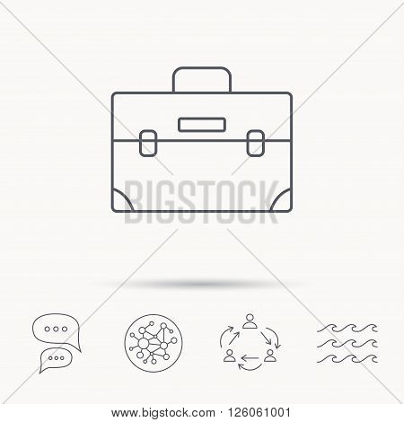 Briefcase icon. Businessman case or diplomat sign. Hand baggage symbol. Global connect network, ocean wave and chat dialog icons. Teamwork symbol.