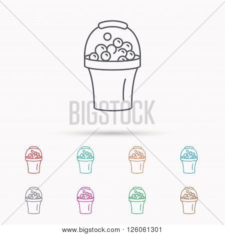 Bucket with foam icon. Soapy cleaning sign. Linear icons on white background.