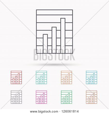 Chart icon. Graph diagram sign. Demand growth symbol. Linear icons on white background.