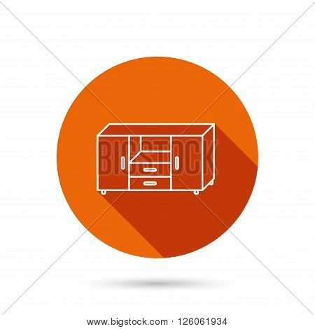 Chest of drawers icon. Interior commode sign. Round orange web button with shadow.