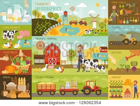 Farming Infographic set with animals, equipment and other objects. Vector illustration.
