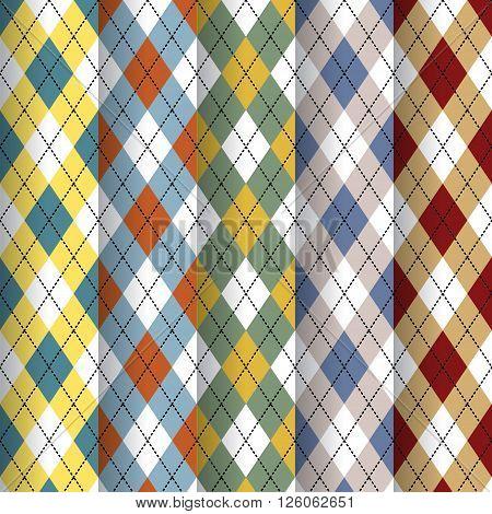 Seamless Scottish design patterns different colors. eps10