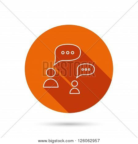 Dialog icon. Chat speech bubbles sign. Discussion messages symbol. Round orange web button with shadow.
