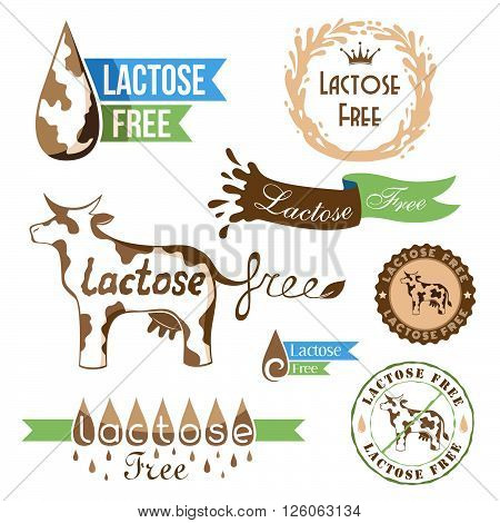 Lactose free design elements badges banners and emblems.