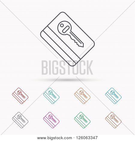 Electronic key icon. Hotel room card sign. Unlock chip symbol. Linear icons on white background.