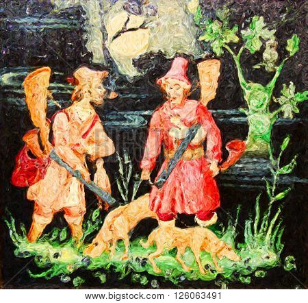 two man on hunting oil painting, hunting day oil painting,  russian art painting, in the woods impressionism, painting applied arts, hunters conversation, hunters bring food for home, painting style,