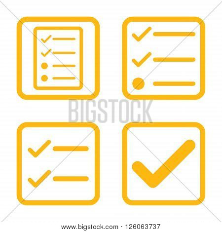 Valid vector icon. Image style is a flat icon symbol inside a square rounded frame, yellow color, white background.