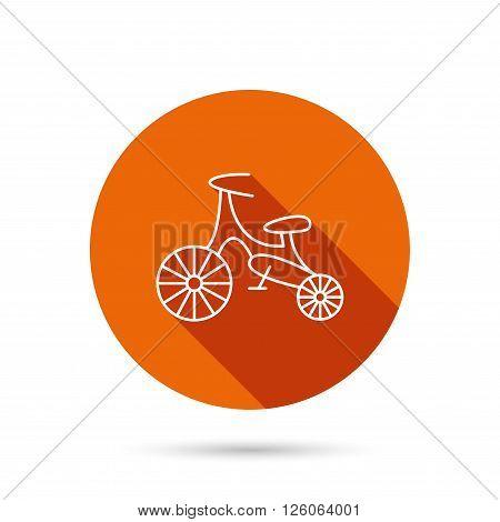 Bike icon. Kids run-bike sign. First bike transport symbol. Round orange web button with shadow.