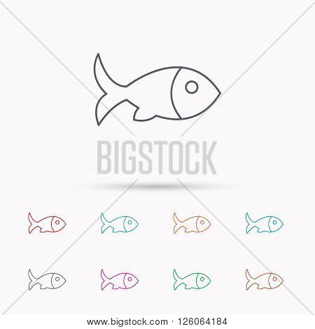 Fish with fin icon. Seafood sign. Vegetarian food symbol. Linear icons on white background.
