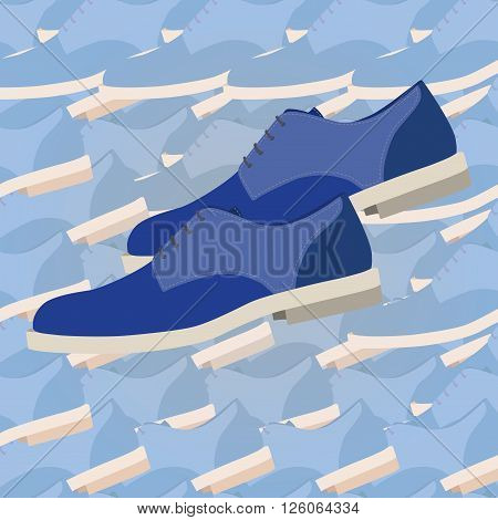 Fashion men shoes seamless pattern background. Illustration of a modern shoes
