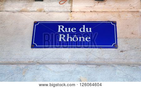 Rue du Rhone street sign in Geneva Switzerland