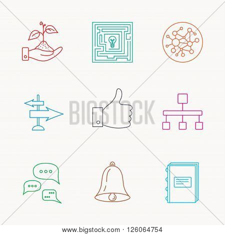 Global network, like and conversation icons. Book, bell and direction arrows linear signs. Save nature, maze and hierarchy icons. Linear colored icons.