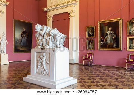 ST. PETERSBURG, RUSSIA - APRIL 11, 2016: Interior of the State Russian Museum.  The museum is the largest depository of Russian fine art in Saint Petersburg