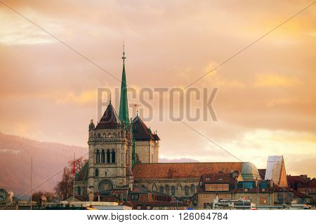 Geneva cityscape overview with St Pierre Cathedral in Geneva Switzerland.