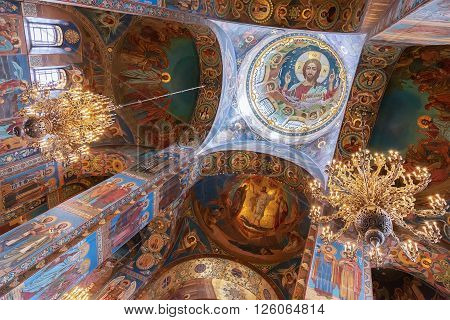 ST. PETERSBURG, RUSSIA -APRIL 15, 2016: Interior of the Church of the Saviour on Spilled Blood.   Church was built on the site where Emperor Alexander II was fatally wounded in March 1881