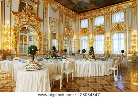 SAINT PETERSBURG, RUSSIA - MARCH 17, 2016: The interior of the Catherine Palace in Tsarskoye Selo (Pushkin). It was the summer residence of the Russian tsars, now it is a famous museum