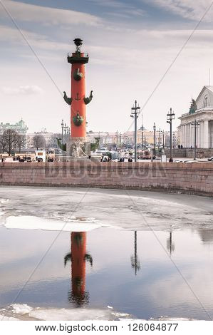 SAINT PETERSBURG, RUSSIA - MARCH 26, 2016: Spit of Vasilyevsky Island with Rostral columns is one of the main and most beautiful ensembles of St. Petersburg
