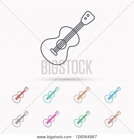 Guitar icon. Musical instrument sign. Band guitarist symbol. Linear icons on white background.
