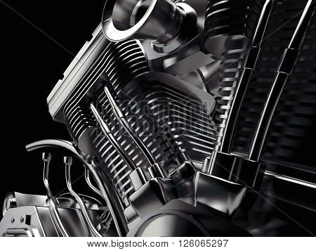 3D Shiny Motorcycle engine close-up on black background