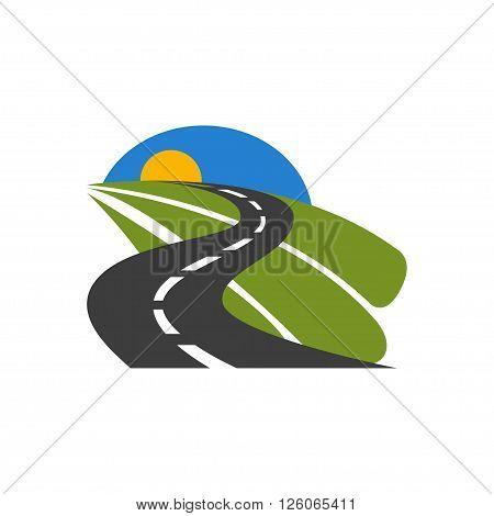 Vector black car road icon. Highway symbol