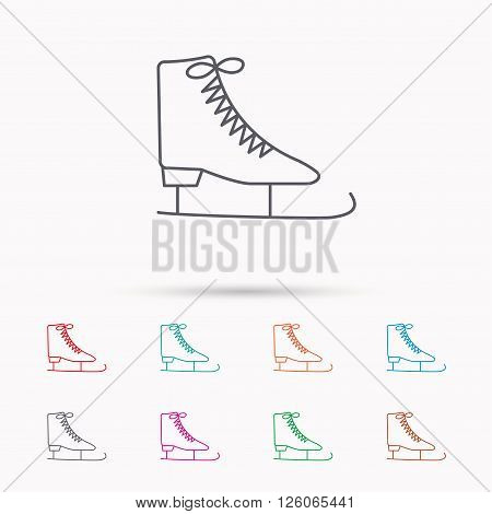 Ice skates icon. Figure skating equipment sign. Professional winter sport symbol. Linear icons on white background.