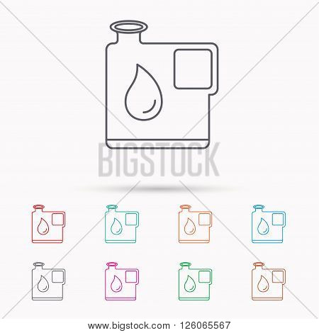 Jerrycan icon. Petrol fuel can with drop sign. Linear icons on white background.