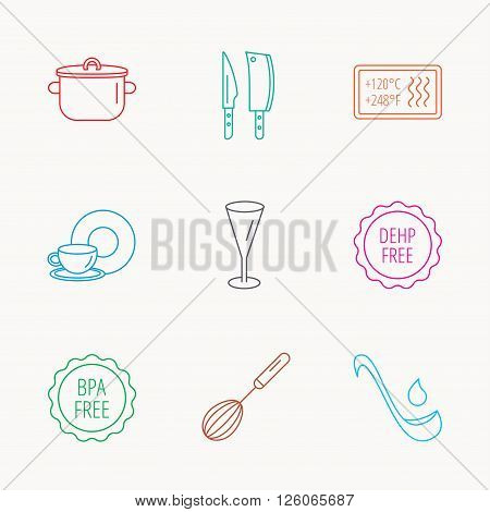 Kitchen knives, glass and pan icons. Food and drink, coffee cup and whisk linear signs. Soup ladle, heat-resistant and DEHP, BPA free icons. Linear colored icons.