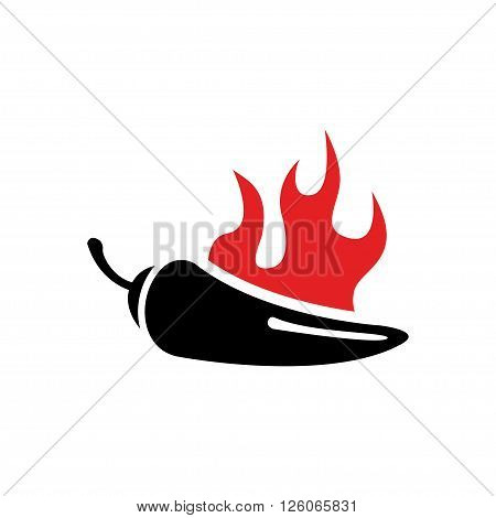 Vector black chilli pepper icon and red fire. Jalapeno peppers symbol