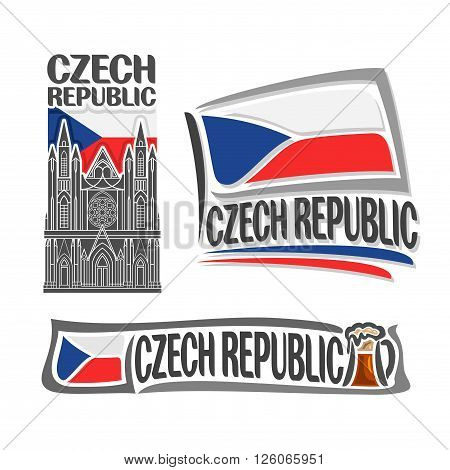 Vector logo for Czech Republic, consisting of 3 isolated illustrations: St. Vitus Cathedral on background of national state flag, symbol Czech Republic and Czekh flag beside frothy beer mug close-up