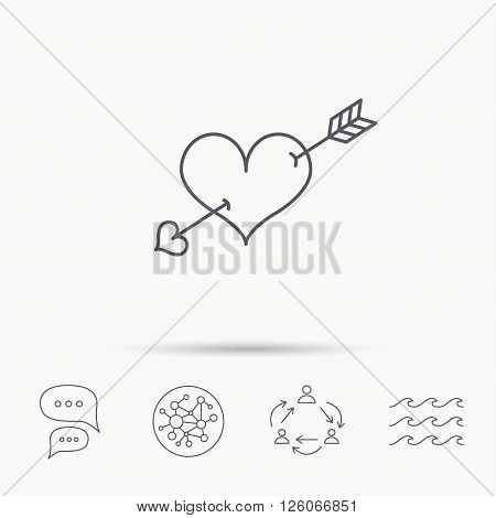 Love heart icon. Amour arrow sign. Global connect network, ocean wave and chat dialog icons. Teamwork symbol.