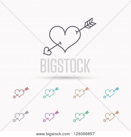 Love heart icon. Amour arrow sign. Linear icons on white background.