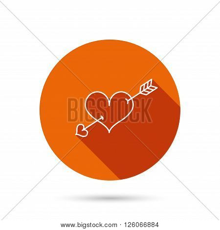 Love heart icon. Amour arrow sign. Round orange web button with shadow.