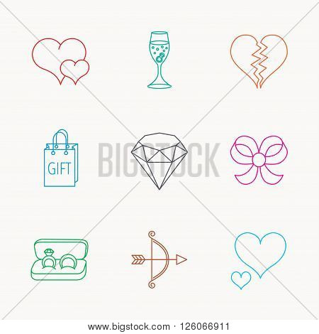 Love heart, gift box and wedding rings icons. Broken heart and engagement linear signs. Valentine amour arrow, brilliant flat line icons. Linear colored icons.