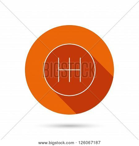 Manual gearbox icon. Car transmission sign. Round orange web button with shadow.
