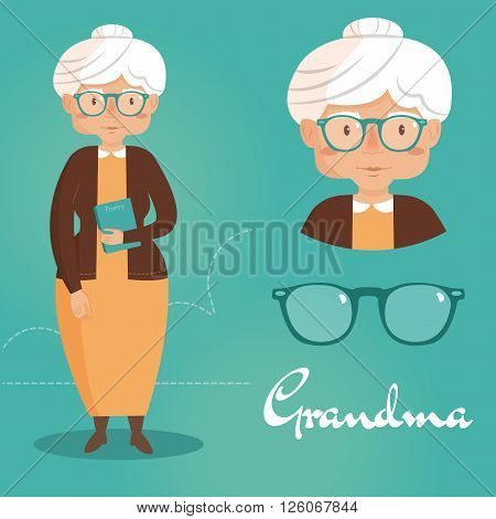 Grandma with a book and glasses. Vector isolated illustration. Cartoon character.