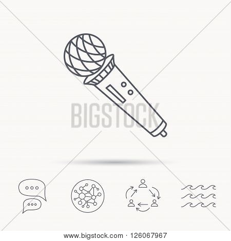 Microphone icon. Karaoke or radio sign. Global connect network, ocean wave and chat dialog icons. Teamwork symbol.