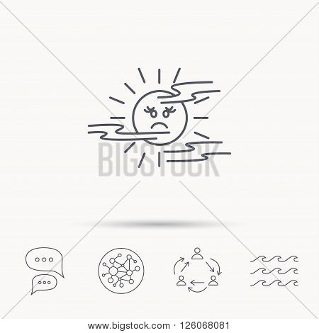 Mist icon. Fog with sun sign. Sunny smile symbol. Global connect network, ocean wave and chat dialog icons. Teamwork symbol.