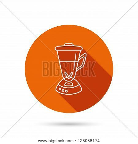 Mixer icon. Blender sign. Kitchen electric tool symbol. Round orange web button with shadow.