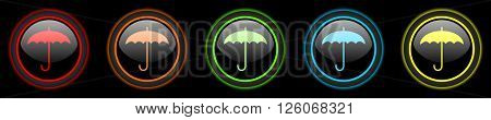 umbrella colored web icons set on black background