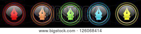 pen colored web icons set on black background