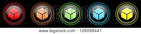 box colored web icons set on black background