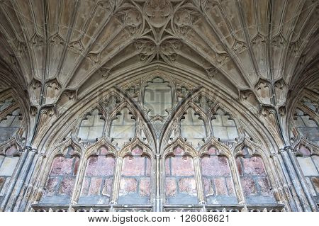 Gloucester, UK - August 17, 2011: The fan vaulting in Gloucester Cathedral dates to the mid-14th century and is one of the earliest examples of this ornate architectural style.