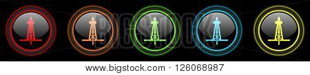 drilling colored web icons set on black background