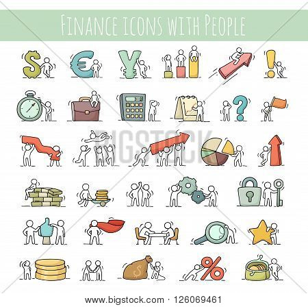 Finance and business icons set of sketch working little people with arrow money currency. Doodle cute miniature scenes of workers. Hand drawn cartoon vector illustration for business and finance design infographic.