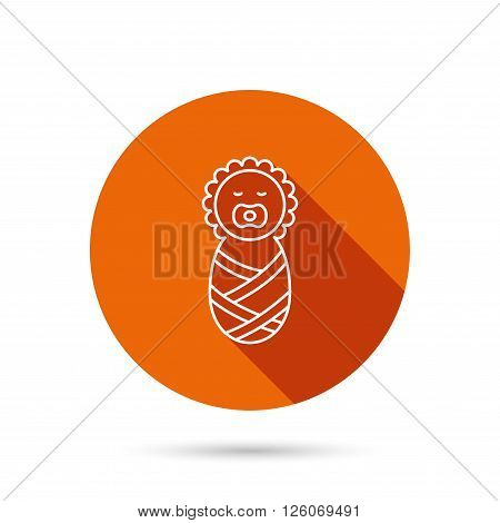 Newborn baby icon. Toddler sign. Child wrapped in blanket symbol. Round orange web button with shadow.