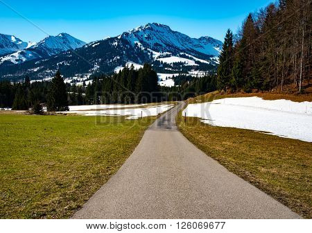 Wonderful  mountain road in German Alps in early spring