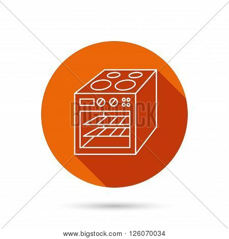 Oven icon. Electric stove sign. Round orange web button with shadow.