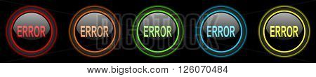 error colored web icons set on black background